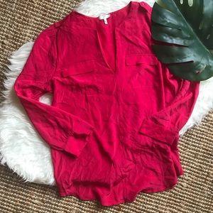 Silk Joie Pink Long Sleeve Blouse